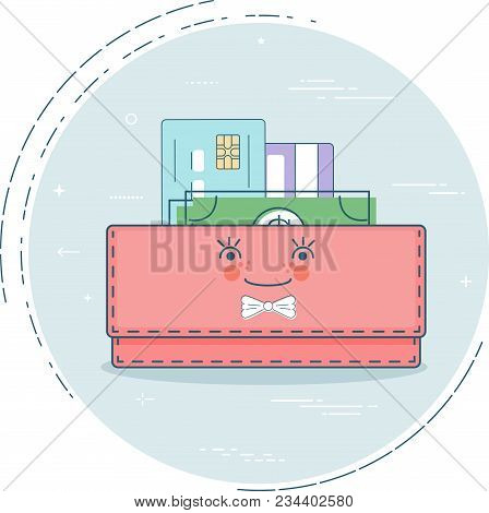 Money Purse Trendy Concept In Line Art Style. Banking And Finance, Ecommerce Service Sign, Business