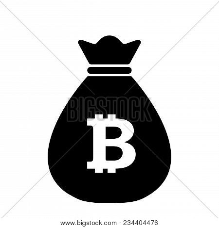 Bitcoin Bag Icon,vector Illustration. Flat Design Style. Vector Money Bag Icon Illustration Isolated