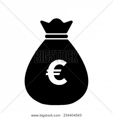 Euro Money Bag Icon,vector Illustration. Flat Design Style. Vector Money Bag Icon Illustration Isola
