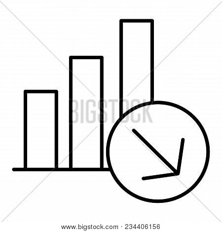 Chart Fall Icon, Line Design. Schedule With Columns Decreases, Vector Linear Illustration. Isolaed O