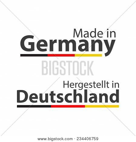 Two Simple Vector Symbols Made In Germany, In German - Hergestellt In Deutschland, Signs With The Ge
