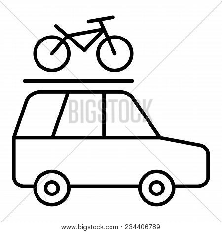 Minivan With A Bicycle On A Roof Rack Vector Line Icon Isolated On White Background. Car Trip With A