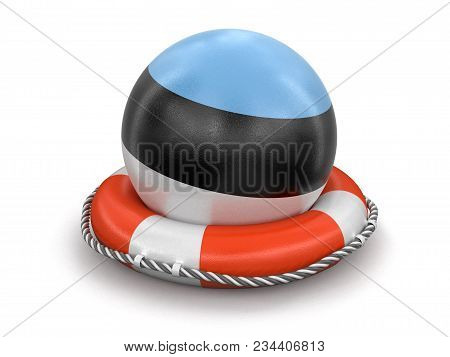 3d Illustration. Ball With Estonian Flag On Lifebuoy. Image With Clipping Path