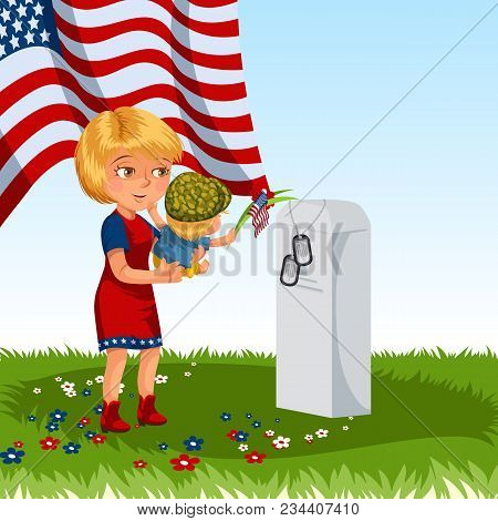 Memorial Day, Mother With Child Cemetery, Little Girl Lays Flowers On Grave War Veteran, Family Wife