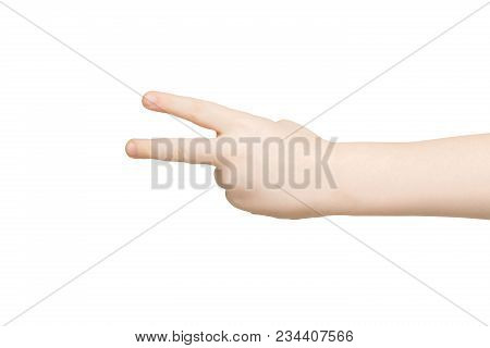 Kid hand shows number two isolated. Child palm gesturing victory sign. Counting, enumeration, white background. poster