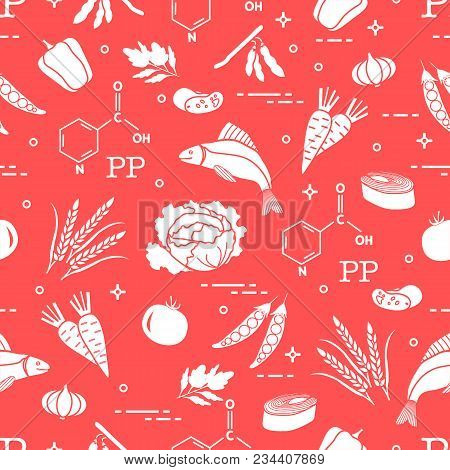 Seamless Pattern With Foods Rich In Vitamin Pp. Beans, Fish, Tomato, Soya Beans, Peas, Garlic, Wheat