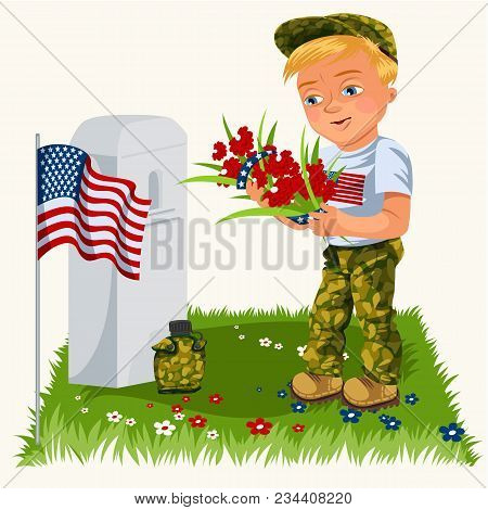Memorial Day Background, American Veterans Lay Flowers To White Tombstone Of Monument With Us Flag,