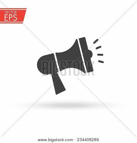 Megaphone Icon For Social Media Marketing Concept. Noisy Loudspeaker. Speech Message Communicate Sig