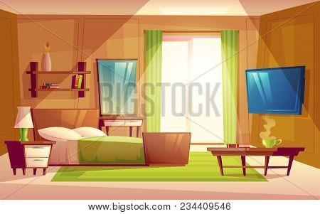 Vector Cartoon Interior Of Cozy Modern Bedroom, Living Room With Double  Bed, TV Set, Dresser, Bookshelf, Carpet, House Inside. Colorful Background  ...