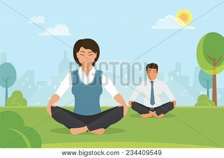 Flat Vector Illustration Of Calm Woman And Man Doing Meditation In The Lotus Position In The Park On