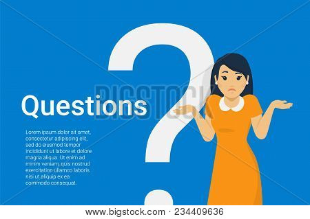 Young Woman Standing Near Big Question Symbol And She Needs To Ask Help Or Advice Via Live Chat, Hel