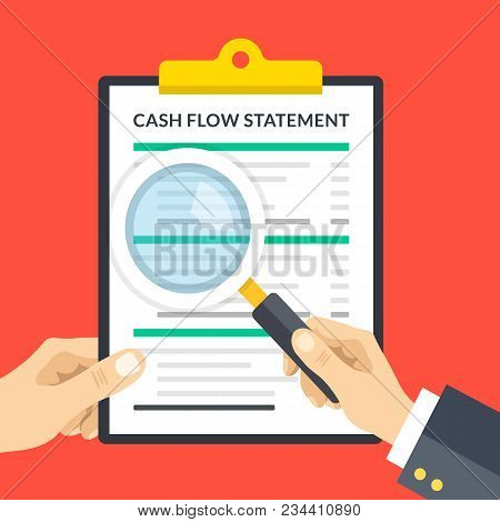 Hand Holding Cash Flow Statement Clipboard, Hand Holding Magnifying Glass. Clipboard With Financial