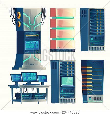 Vector Set Of Various Cartoon Control Room, Server Racks, Database, Data Center. Hosting, Networking
