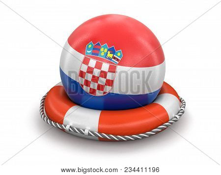 3d Illustration. Ball With Croatian Flag On Lifebuoy. Image With Clipping Path