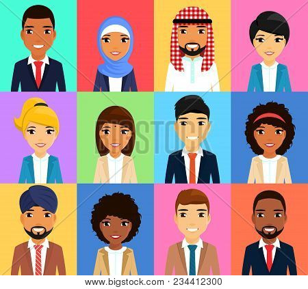 Set Of Business Icons. Businessmen Of Different Nationalities. Asian, Latin American, African, Europ