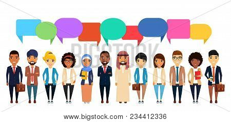 Business Concept. A Large Group Of People Of Different Nationalities. Asian, Latin American, African