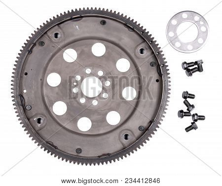 Big Gear And Bolts Isolated Over White Background