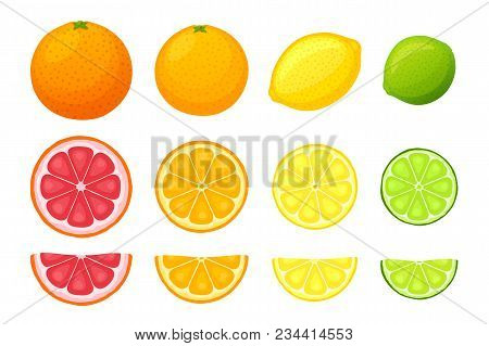 Vector Illustration In Flat Style. Set Of Whole, Slice And Half Fruits Of Orange, Grapefruit, Lemon