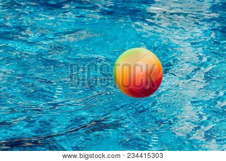 Water Polo. Water Sports. Ball Left In Swimming Pool. Game Is Over.