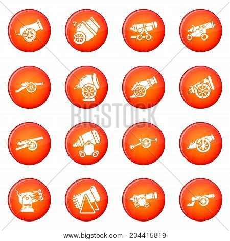 Cannon Retro Icons Set Vector Red Circle Isolated On White Background