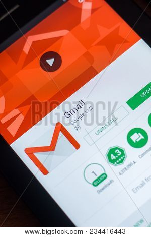 Ryazan, Russia - March 21, 2018 - Gmail App With Logo On A Display Of Tablet Pc