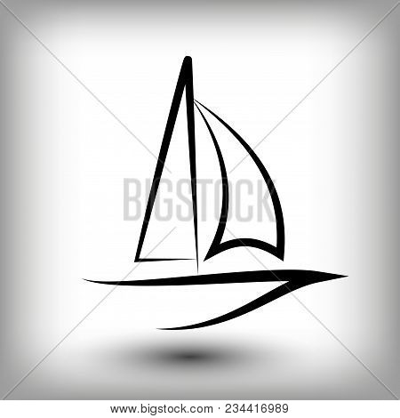 Yacht  Logo Templates. Sail Boat Silhouettes. Line  Sail Icon, Vector Illustration. Yachting And Reg