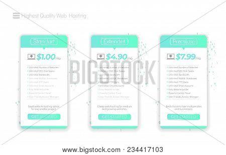 Web Hosting Boxes. Hosting Plans For Website. Three Tariffs. Vector Illustration.