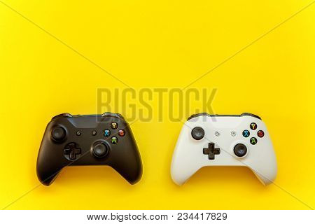 Black And White Joystick On Yellow Background. Computer Gaming Competition Videogame Control Confron