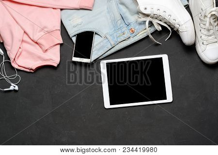 Fashion Woman Clothes Set. Black White. Pink Blouse, Blue Jeans, White Sneakers, Tablet, Phone. Fash