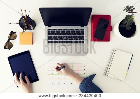 Calendar Planner Agenda Schedule Concept. Woman Working In Her Office, Planning. Freelance, Graphic