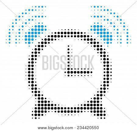 Buzzer Halftone Vector Icon. Illustration Style Is Dotted Iconic Buzzer Icon Symbol On A White Backg