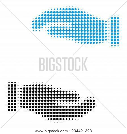 Care Hands Halftone Vector Pictogram. Illustration Style Is Dotted Iconic Care Hands Icon Symbol On