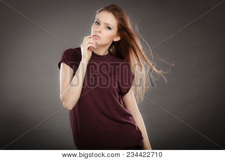 Glamour And Beauty. Portrait Of Gorgeous Glamorous Fashionable Woman With Long Straight Dark Hair Wa