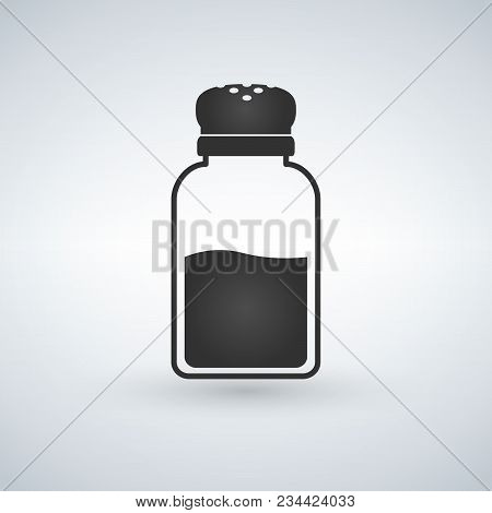 Salt Shaker Icon In Flat Style Isolated On White Background. Baking And Cooking Ingredient. Vector I