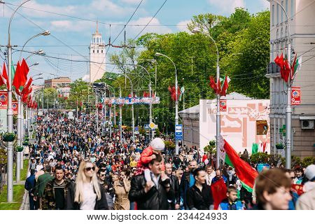 Gomel, Belarus - May 9, 2015: People Participating In The Parade Dedicated To The Victory Day - The