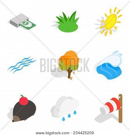 Ecologically Friendly Icons Set. Isometric Set Of 9 Ecologically Friendly Vector Icons For Web Isola