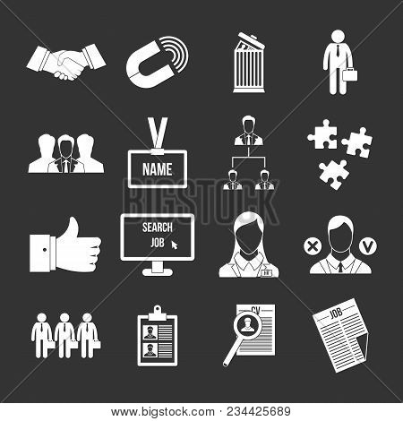 Human Resource Management Icons Set Vector White Isolated On Grey Background
