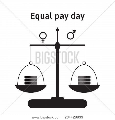 A Vector Illustration For Equal Pay Day In April. The Correction Of Regarding Pay Inequality Between