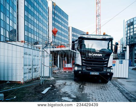 Strasbourg, France - Mar 5, 2018: Blue Toned Image Of Scania G410 Cement Mixer Truck At The Reconstr
