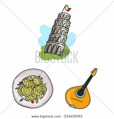 Country Italy Cartoon Icons In Set Collection For Design. Italy And Landmark Vector Symbol Stock  Il