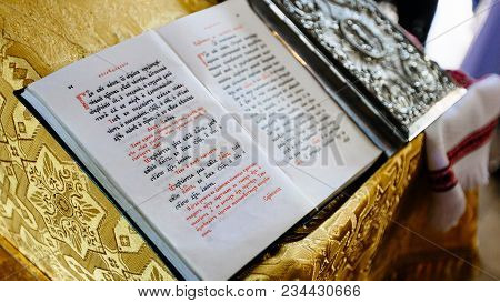 Dnipro, Ukraine - August 06, 2017: Bible On Reading-desk Or Lectern, Sacred Lectern In The Church De