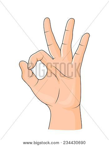 Human Showing Okay Hand Gesture. Okay Hand Sign Isolated On White Background. Vector Illustration.