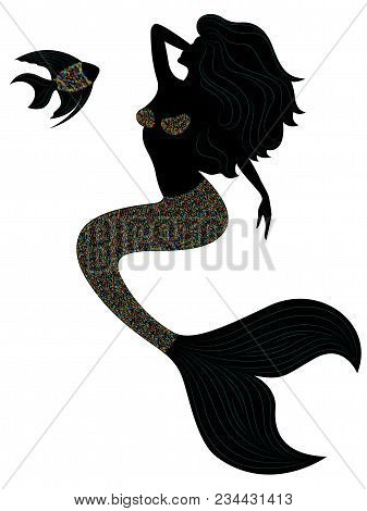 Slender Mermaid With Long Scales Fish Tail And Fish, Cartoon Color Vector Illustration