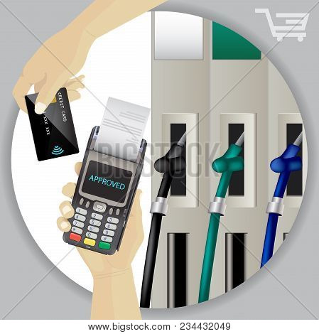 Fuel Dispenser And Fuel Nozzles At A Filling Station To Pump Petrol, Gas, Diesel. Contactless Wirele