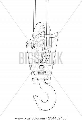 Crane hook sketch image photo free trial bigstock crane hook sketch or blueprint 3d illustration wire frame style malvernweather Choice Image