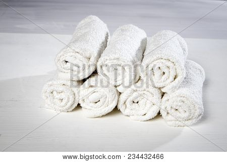 The White Spa Towels Pile Isolated On White Background