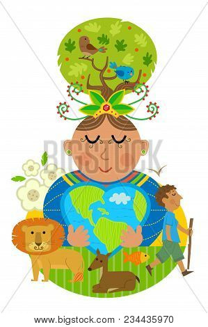 Conceptual Illustration Of Mother Earth Hugging A Heart Shaped Earth With Some Of The Animals That I