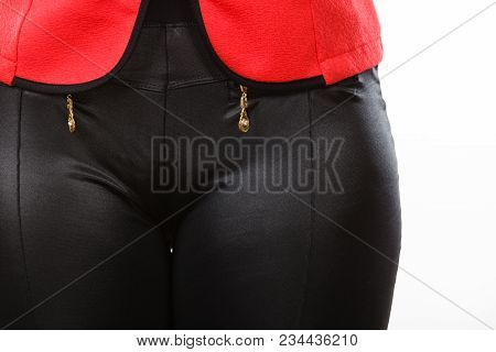 Fashion, Textile, Tailoring, Clothing Concept. Closeup Of Woman Pants Made Of Synthetic Material