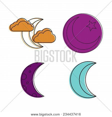 Moon Icon Set. Color Outline Set Of Moon Vector Icons For Web Design Isolated On White Background