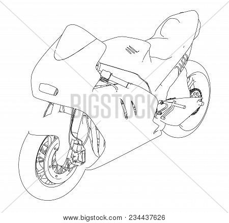 Motorcycle Sketch. 3d Illustration. Silhouette Of A Sports Motorcycle